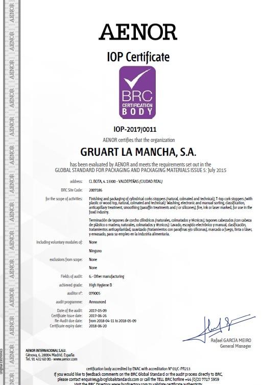 We Have Already The Brc Certification Gruart La Mancha Tapones
